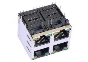 China 2041376-2 2x2 Multi-port RJ45 Jack With Shield W / LED LPJE107-5AHNL on sale