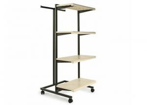 China Multifunction Light Weight 4 Wheels Clothing Display Rack / Clothing Store Racks And Shelves on sale