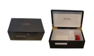 China Water Painting Present Gift Boxes, Keepsake Wooden Box With Velvet For Ring / Earring on sale