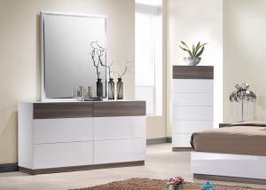 Acid Resistant White Gloss Bedroom Furniture With Walnut Melamine ...