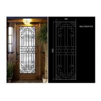 Rust Prevention Wrought Iron Glass Door Inserts , Hollow Iron Glass Doors