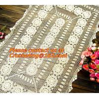Rectangular coffee table linen table cloth table, Corcheted Lace Table linen, Tablecloth