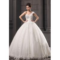 Girls Thin Diamond Lace Ball Gown Wedding dress with one shoulder for fall