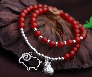 China Genuine carnelian 925 sterling silver charm bracelets, red gemstone double wrap bracelet on sale