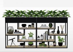 China Delicate Balcony Flower Pot Shelf , Plants Metal Garden Shelves Multi Functional Fence on sale