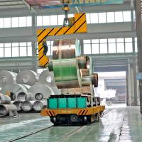Steel factory electric large coil transfer cart mounted on the rail