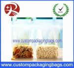 Transparent Ziplock PET Food Packaging Bags Square Bottom Pouch