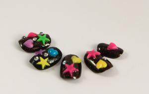 China Kids beautiful Fake Nails / Artificial Nail Art black with glitter on sale