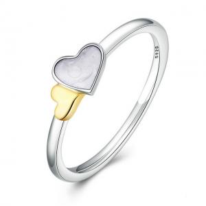 China HEART SILVER RING WITH 14K AND MOTHER OF PEARL 925 Sterling Silver Luminous Hearts Feature Ring on sale