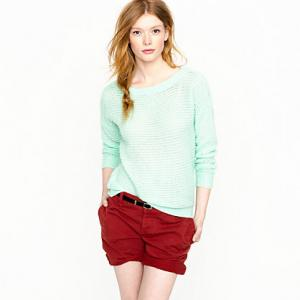 China Cashmere Open Stitch Boatneck Womens Knitted Sweaters For Fall / Spring , Aqua on sale