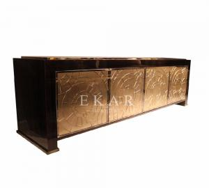 French Luxury Style Gold Finished Wooden Tv Cabinet With Chests