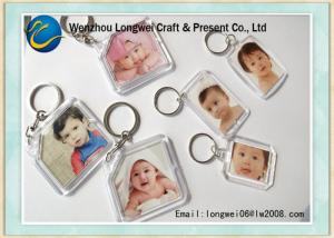 China Customized Photo Engraved Key Chain , Acrylic Photo Keyring Souvenirs on sale