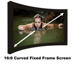 China New Arrival Curved Fixed Frame Projection Screen130 Inch 16:9 Ratio Projector Screens 3D on sale