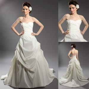 China Vintage Satin Beaded Applique Wedding Dresses Ruffled Ball Gown in White on sale