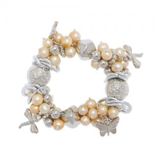 China $8.99 Free shipping  Pink Freshwater Cultured Pearl Bracelet with Dragonflies and Butterflies on sale