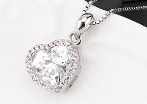 China Austra Crystal Sterling Silver Heart Necklace Color Zircon Paved For Valentine's Gift on sale