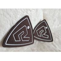 China Customized Brown Suede Embossed Leather Patches , Shiny Siliver High Density Tpu Logo on sale