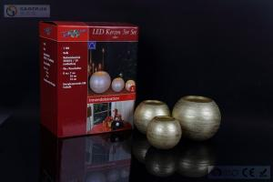 China Gold Sliver Copper Metallic Flameless Led Candles , Flickering Round Ball Candles on sale