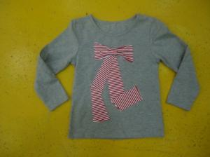 China Big Bow Chest  Girls Stylish Top Girls Crew Neck T Shirt Top Nice Hand Feel on sale
