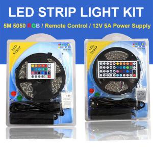 China Color Changing RGB LED Strip Light Full Set 5M 5050SMD Come With Remote Control and Power Supply on sale