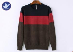 China One Big Stripe Men's Knit Pullover Sweater OEM Plain Acrylic Knitted Apparel on sale