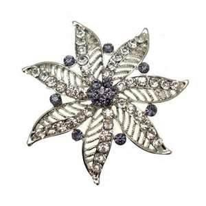 China Vintage Eco friendly Gold plating Crystal Bridal  Wedding Pin flower Brooches for ladies  supplier