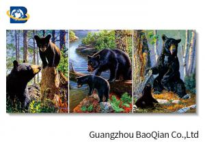 China Wall Art Stretched Picture Of Wild Animal Black Bear / Deer For Bedroom Decoration on sale
