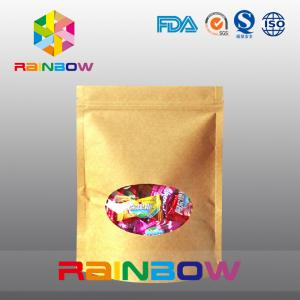 China Ziplock Kraft Paper Packaging Bag With Round Window For Packing Candy / Snack Food on sale