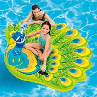 """Summer Peacock Pool Float Inflatable Island 76X 64X 37"""" For Ages 6+"""