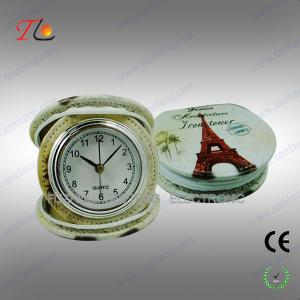 China New portable and folding 3D flower printing PU Paris travel alarm clock for promotion on sale