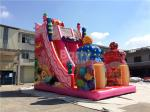 Pink Candy 0.55mm PVC tarpaulin Outdoor Giant Inflatable Slide / Blow Up Amusement Park