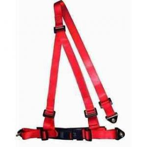 China Buckle Style Red Racing Safety Belts With Bolts / 3 Point Retractable Seat Belts on sale