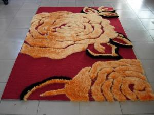 China Big Flower Structured Acrylic underlay Polyester Shaggy Face Carpet Rug 2400G Pile on sale