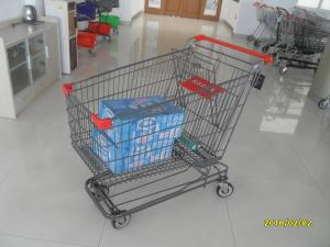 China Grey Powder Coating Asian Type Wire Shopping Trolley 210L Wiht 4 Swivel 5 Inch Casters on sale
