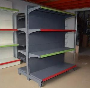 China Double Sided Four Tier Supermarket Display Stands / Retail Display Shelving Units on sale