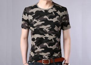 China Summer Cotton Camo Print T Shirt , Men Casual Short Sleeve Vest on sale