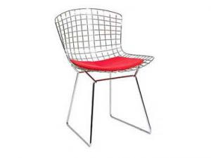 China Harry Bertoia Wire Side Chair , Chromed Powder Black Wire Diamond Chair With Pad on sale