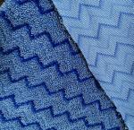Microfiber Blue Zigzag W Shape Warp 80/20 Mop Twisted Fabric 150cm Width 550gsm