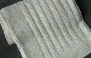 China comfort touch 100 Organic Cotton Knitted Baby Blankets Wrap With Queen Size white on sale