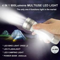 Multi function 900 lumens CREE XM-L2 U2 Rechargeable LED Flashlight Torch Light with Power Bank Camping Light Bicycle Bi