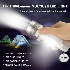 China Multi function 900 lumens CREE XM-L2 U2 Rechargeable LED Flashlight Torch Light with Power Bank Camping Light Bicycle Bi on sale