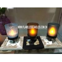 Hotel or Home Decoration Glass Votive Candles with Metal Holder and Wooden Tray
