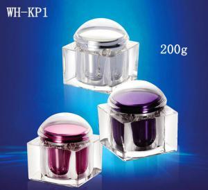 Quality 200gr plastic square acrylic jar,square jars,cream container,square cream jar for sale