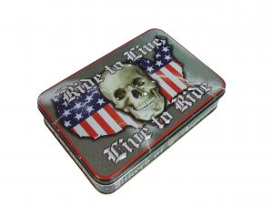 China Skull Shape USA Map Printed Metal Tin Cans Embossing Rolled Out Line on sale