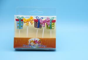 China Gift Box Shaped Personalized Kids Birthday Candles Dripless Customized Logo on sale