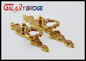 China Gold Decorative Ring Pulls 85mm Length Zinc Alloy Cabinet Door Handles Light Brass Royal Furniture Fittings on sale