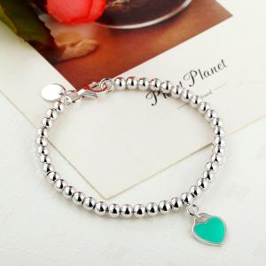 China 925 sterling silver bead chain enamel love bracelet wholesale on sale