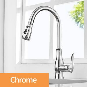 China Pull Out Kitchen Faucet Brass Mixer Tap Sink Black Faucet with Pull Out Spray Single Handle High Arc Chrome Kitchen Tap on sale