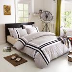 Sistemas grises del lecho del satén del algodón del uso del hogar del color, sistemas de ropa de cama del algodón