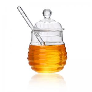 China Borosilicate Glass Honey Jar With Dripper Heat Resistant Eco Friendly on sale